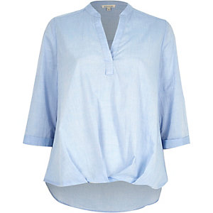 Blue chambray wrap front V-neck blouse