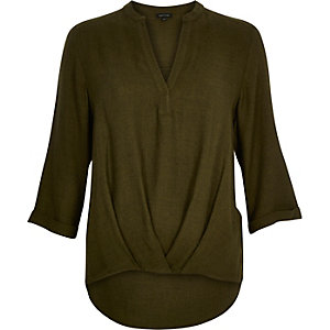 Khaki green wrap front V-neck blouse