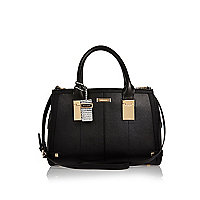 Black hinge handle large tote handbag