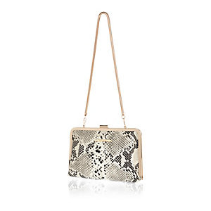 Brown snake print frame clutch handbag