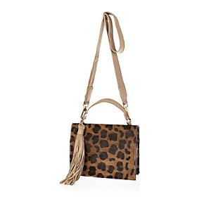 Brown leather leopard print box bag