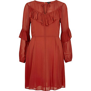 Rust brown frill sleeve dress