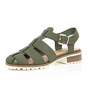 Khaki cleated sole sling back sandals