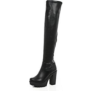 Black over the knee platform boots