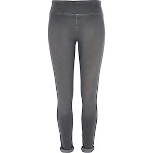 Grey high waisted denim leggings
