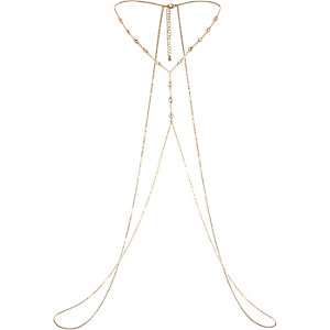 Gold tone diamante chain harness