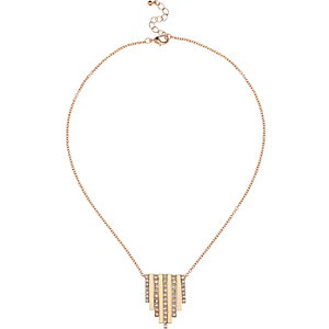 Gold tone torque chain back detail necklace