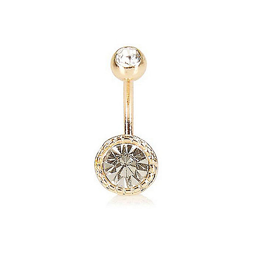Gold tone crystal belly bar