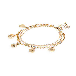 Gold tone coin charm anklet