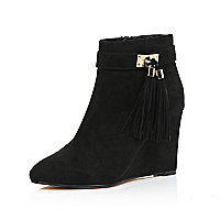 Black suede tassel trim wedge ankle boots