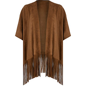 Brown faux suede fringed cape