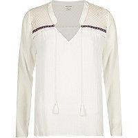 Cream fringed blouse