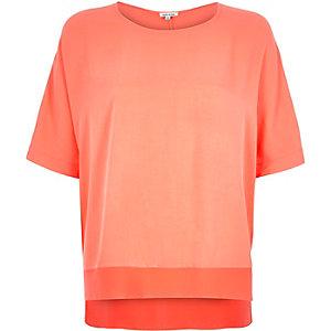 Coral lightweight chiffon hem t-shirt