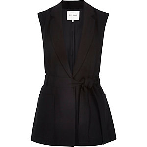 Black belted sleeveless jacket