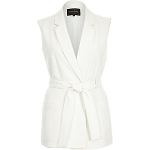 White belted sleeveless jacket