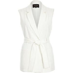 White belted sleeveless jacket