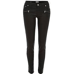Black coated Amelie low superskinny jeans