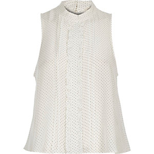 White polka dot frill sleeveless blouse