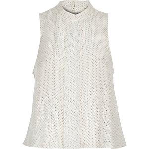 White polka dot frill sleeveless blouse