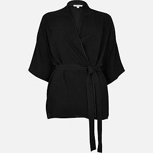Black short belted kimono jacket