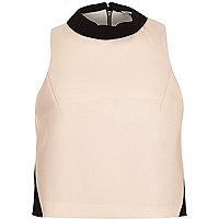 Light pink colour block sleeveless top