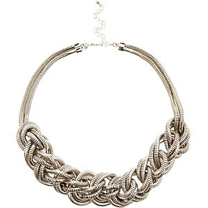 Silver tone oversized plaited necklace
