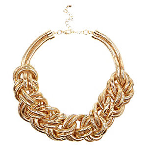 Gold tone mega plait necklace