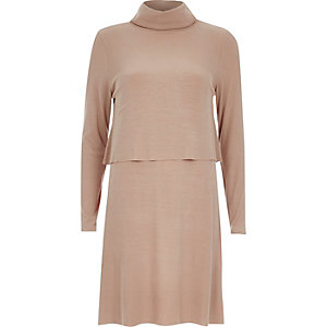 Beige jersey 2-in-1 swing dress