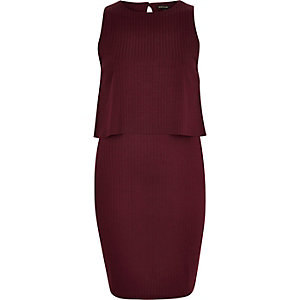 Dark red ribbed layered sleeveless dress