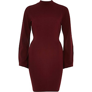 Red cut-out back bodycon dress
