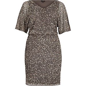 Grey sequin embellished occasion dress