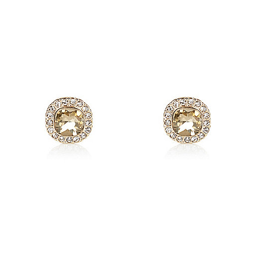 Gold tone sparkle stud earrings