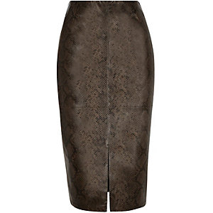 Khaki snake print split front pencil skirt