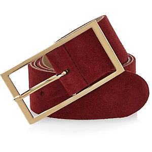 Dark red suede waist belt