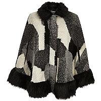 Black patchwork faux-fur trim cape