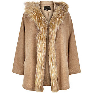Camel jersey fur trim cape