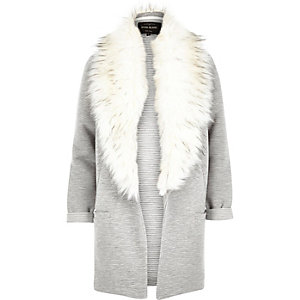 Grey ribbed faux fur collar jacket