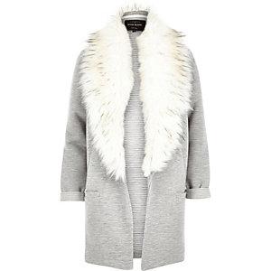 Grey ribbed faux fur collar jacket