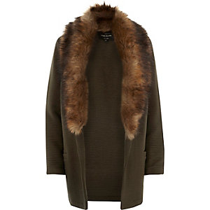Khaki jersey faux-fur trim jacket