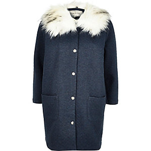 Blue jersey faux-fur collar jacket