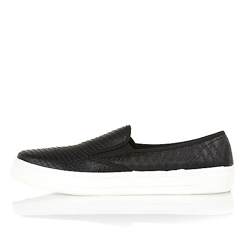 Black snake slip on plimsolls