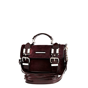 Dark red faux-suede mini satchel handbag