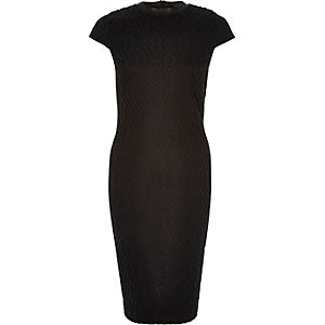 Black textured bodycon dress