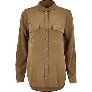 Khaki RI Studio pure silk shirt