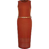 Orange belted sleeveless bodycon dress