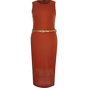 Orange belted sleeveless bodycon dress