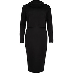 Black ribbed layered bodycon dress