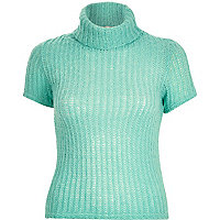 Green chunky short sleeve roll neck