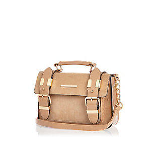 Beige faux-suede mini satchel handbag