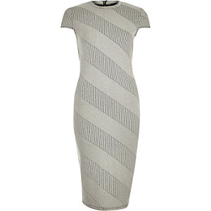 Cream stripe jersey bodycon midi dress
